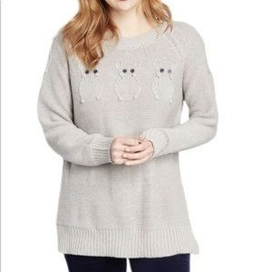 Modcloth NWOT Knit Sweater with Owl Accents Gray